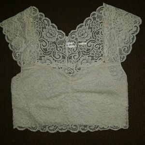 Intimately Free people women's white lace bralette
